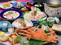 姿ずわいがにが丸ごと一杯付いている会席料理の一例。甲羅の味噌も味わえます