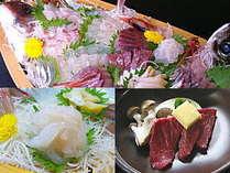 新鮮でおいしいお刺身たっぷりの舟盛に白えびと氷見牛を追加した満腹プラン。