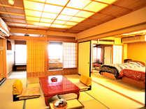特別室 『鳳仙花』一例※二間続きの露天風呂付和室11畳+8.5畳(ベット2台)のお部屋です。