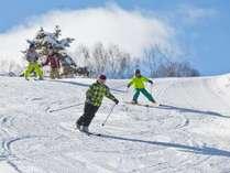 スキーヤーオンリーゲレンデで家族でスキー♪