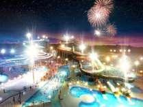 【芝政パック:素泊まり】最終チェックイン23時、24時間利用できる温泉で夜のスターライトプールを大満喫!