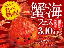 期間延長!「蟹×海フェス」3月10日まで毎日開催。新鮮な海の幸やカニ料理、お肉料理も全部楽しめます。