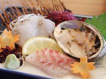 アワビと旬魚のお造り