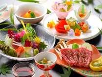 【夏会席】花由エリアのスタンダード懐石。料理長拘りの料理の品々/例