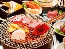 【夕食】県産黒毛和牛を七輪の炭火で炙る(イメージ)