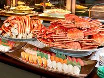 春の彩りを添えた豪華50種海鮮バイキング♪姿蟹や牛スーテキ・揚げたて天婦羅など