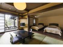 1日2室限定の露天風呂付き和洋室ベッド仕様/おきな草