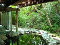 渓流沿いの大自然の中で静かに湯を満たす源泉かけ流しの露天風呂