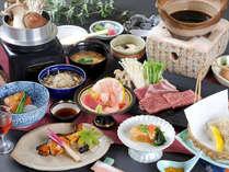 黒毛和牛&県産ゆめポークのすき焼き風鍋など冬の味覚満載の会席料理