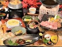 2019年秋の基本会席+6種のきのこと那須野が原牛すき鍋の一例
