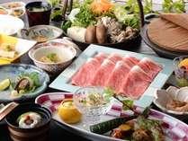 月替りの懐石料理は選べる鍋料理付!とちぎ和牛のしゃぶしゃぶコース一例