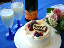 ウエディングケーキも作るパティシエの記念日ケーキとシャンパン(ハーフサイズ)で乾杯♪