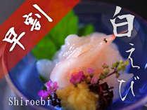 【早割28日】お得な割引きプラン♪【富山湾の宝石】白えびと朝獲れ旬魚を満喫するプラン「白えび膳」
