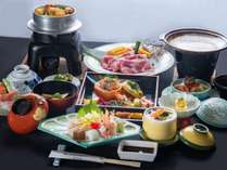 *【ミニ会席/夕食一例】食べきれる量の会席料理です。季節ごとに内容は変わります。