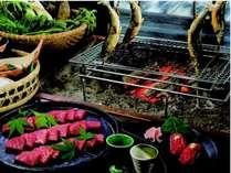 飛騨牛料理4品付「飛騨牛づくし会席」囲炉裏で熱々を