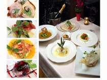 夕食は地の素材を使った旬の海鮮イタリアンコース料理(例)