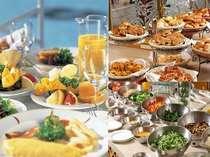 ◎お客様の目の前で焼くオムレツや出来立てのパンなど種類豊富なメニューを日替わりで!