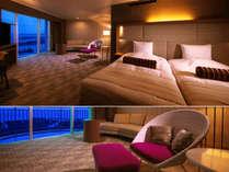 """■ツイン・コーナー■60平米 当館随一の広さを誇る客室で、心も身体も""""ゆとりある時間""""を――。"""