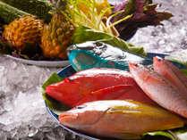 <和琉ダイニングあんのん>鮮やかな色とは裏腹の淡白な味が魅力の、新鮮な魚介類