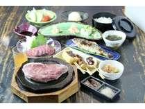 阿蘇特産赤牛の石焼ステーキをメインにした御夕食です。絶品の赤牛をお楽しみください!