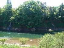 露天風呂から望む春の和賀川