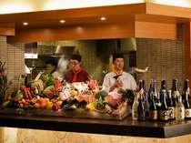 【餐火讃花】オープンキッチンでお好み食材をチョイスして!