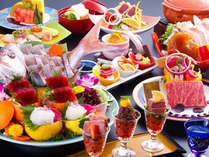 オリーブ牛の食べ比べやや瀬戸内鯛の造りなどの美食会席(一例)