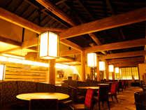 【割烹ダイニング丸忠】古い酒蔵の木材を移築した梁が印象的なレストランです。
