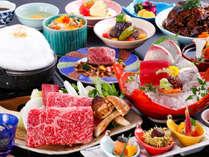 太刀魚のお造りと牛頬肉の柔らか煮と月替り逸品会席(一例)