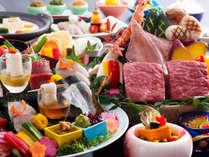 【レストラン/基本会席】和牛と海の幸の石焼会席(一例)