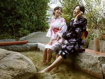 ■1F花てらす■ちょっとした時間にも、気軽に温泉を楽しむことができる足湯。