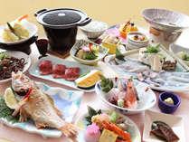 ◆7月~11月◆磯の月会席:名産の「かじめうどん」、高級魚「のど黒」は姿の塩焼きなど