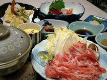 *和定食「月」は、新潟産のお肉で食す、しゃぶしゃぶが人気です。(一例)