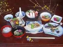秩父地方のいのしし鍋をメインに夕食の一例です。