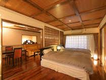 【露天風呂付洋室・詫助】シモンズ社製品で統一された寝具類