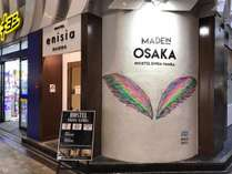 Entrance of Hostel Enisia Namba.ホステルエニシアの入り口はお洒落なフォトスポット!