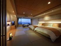 『彩(いろどり)』城下町側の和洋室。2016年春全面改装の和モダン客室