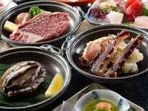 美味旬彩プランで選べるメイン食材はあわび、たらばがに、和牛ステーキより1品
