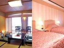 和室/洋室 ※山々に囲まれた景色が自慢のお部屋です。2012年4月撮影
