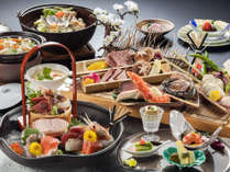 <アップグレード炉端膳>豪華炭火焼き盛り合わせ、気仙沼産鱶鰭の茶碗蒸し、ひっつみ汁サフラン鍋など