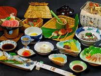 【夕食イメージ】四季折々の地元生産の食材を使い、昔なつかしのオリジナル郷土料理です。