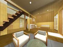 デラックスアパートメントのリビング、居間、キッチン、半露天風呂(パースなので透明部分は壁になります)