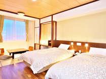【和洋室】2室限定 和の落ち着きと洋の快適さを兼ね備えた和洋室。ベッドはシモンズ社製
