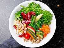 【夕食】緑黄色野菜を中心としたサラダバー。