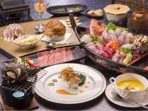 ご夕食一例:地魚お造り舟盛りやサザエつぼ焼きのスタンダード