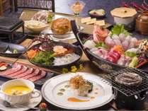 ご夕食一例:伊勢海老お造りとアワビ踊り焼き
