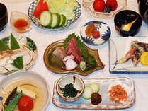 ある日の夕食(油はバージンオリーブ100%を使用し、白砂糖・化学調味料は使用しておりません)
