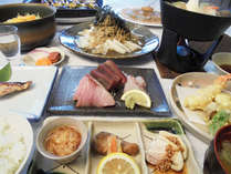 【夕食】和食コースとサラダバー:油は純バージンオリーブを使用、白砂糖・化学調味料は使用しておりません