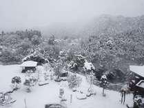 客室から見た雪の風景。鬼怒川が雪に包まれています。