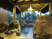 ≪壱の湯≫「岩室」貸切風呂。貸切風呂から始まる23種湯めぐりをお楽しみください。